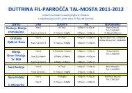 Informazzjoni dwar id-Duttrina fil-Parrocca tal-Mosta 2011- 2012