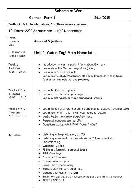 Scheme Of Work German Form 1 St Joseph School Blata L