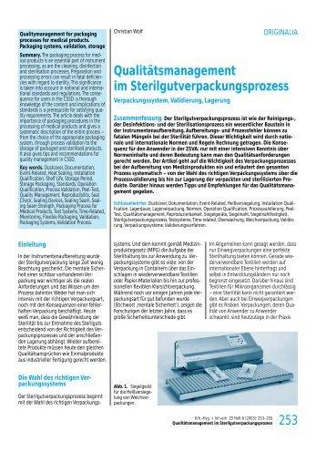 Qualitätsmanagement im Sterilgutverpackungsprozess - Hawo