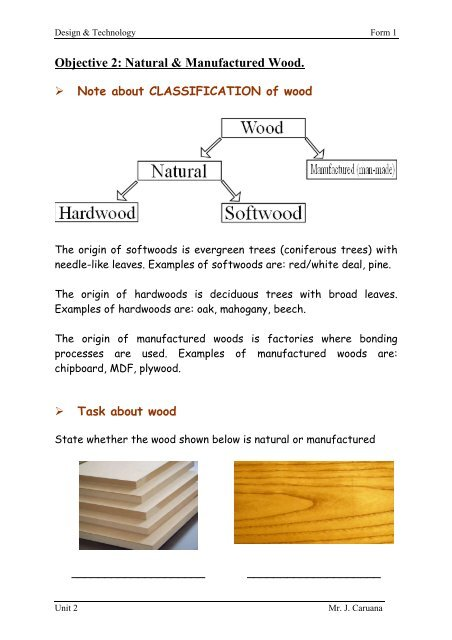 Objective 2 Natural Manufactured Wood Pdf
