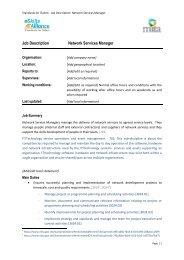 Job Description Network Services Manager