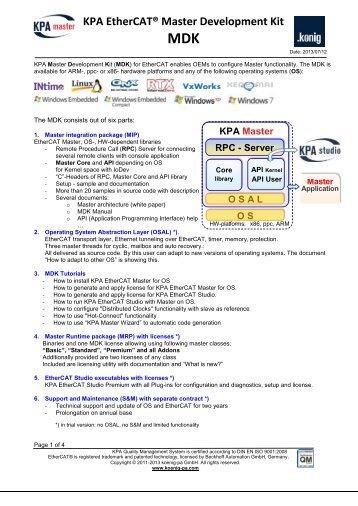 KPA EtherCAT Master MDK flyer - Koenig-pa.com