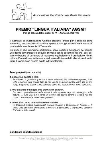 """PREMIO """"LINGUA ITALIANA"""" AGSMT - Scuola Media di Tesserete"""