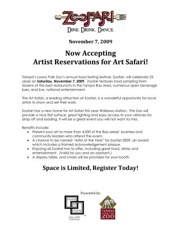Art Safari Letter and Application 2009 - Tampa's Lowry Park Zoo