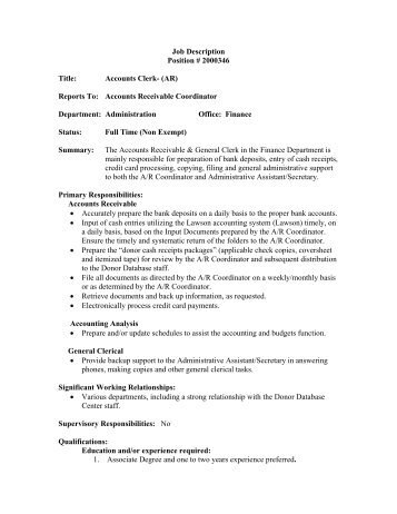 Hr Rev 06/04 1 Job Description Position Title: Director Of Finance