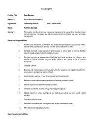 Job Description Position Title: Case Manager Reports to: Social ...