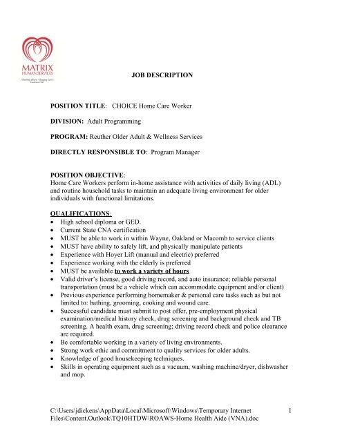 To Download Job Listing Matrix Human Services