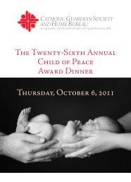 The Twenty-Sixth Annual Child of Peace Award Dinner Thursday ...