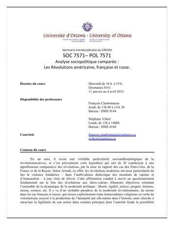 Séminaire 2011-2012 - Faculté des sciences sociales - Université d ...