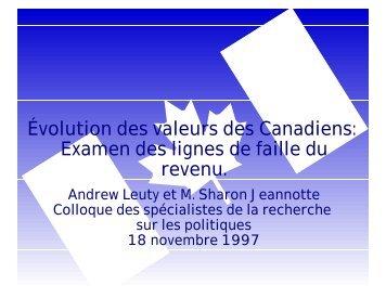 Évolution des valeurs des Canadiens - Faculté des sciences sociales