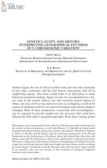 GENETICS, EGYPT, AND HISTORY: INTERPRETING ...