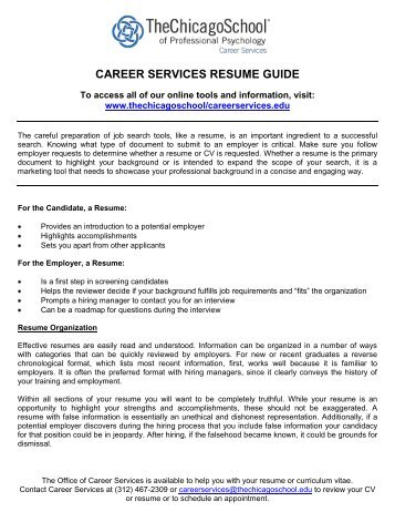 career services resume guide - The Chicago School of Professional ...