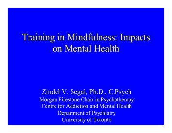 Training in Mindfulness - CAMH Knowledge Exchange - Centre for ...