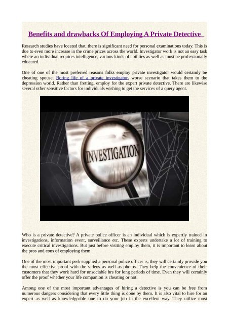 Benefits and drawbacks Of Employing A Private Detective