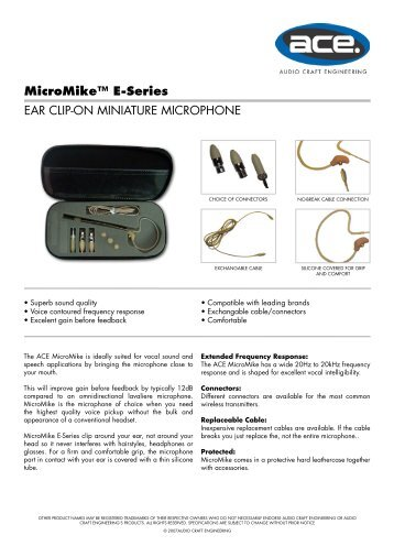 MicroMike™ E-Series EAR CLIP-ON MINIATURE ... - Visono Media AB