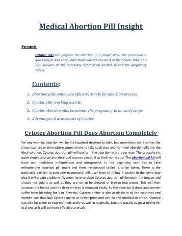 Medical Abortion Pill Insight