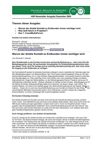 Endkunden - Heinold, Spiller & Partner Unternehmensberatung GmbH