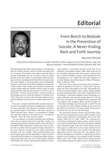 From bench to bedside in the prevention of suicide: A never-ending ...