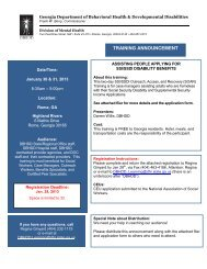 training announcement - Department of Behavioral Health and ...