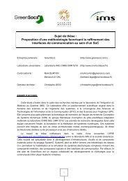 Sujet de thèse : Proposition d'une méthodologie favorisant le ... - IMS