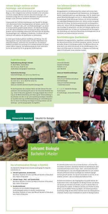 Lehramt Biologie Bachelor | Master - Universität Bielefeld