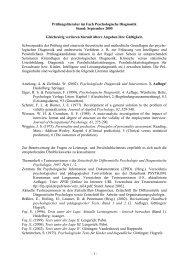 - 1 - Prüfungsliteratur im Fach Psychologische Diagnostik Stand ...