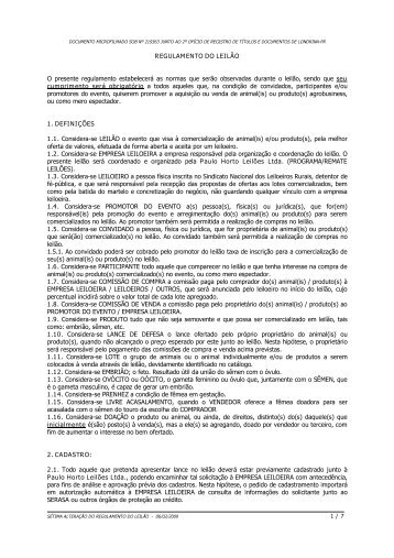 LOTE : 47 Vendedor: JULIO BERNARDES AGROPEC ... - Canal Rural