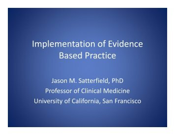 Implementation of Evidence Based Practice - PCSS-O