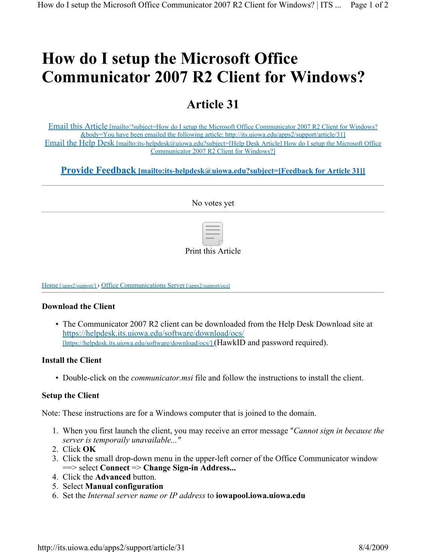 Microsoft communicator 2007 client download.