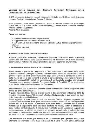 Il CER Lombardia si riunisce venerdì 18 gennaio 2013 alle ore 15 ...