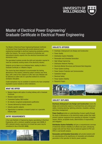 Master of Electrical Power Engineering - University of Wollongong