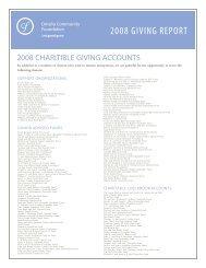 2008 GIVING REPORT - Omaha Community Foundation