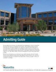 Admitting Guide - Mountain Vista Medical Center