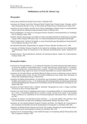 Publikationen von Prof. Dr. Markus Vogt - Katholisch-Theologische ...