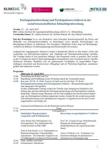 Partizipationsforschung und ... - Klima Regional