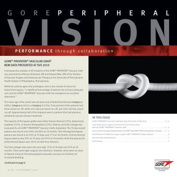 Gore Peripheral Vision September 2010 - Gore Medical