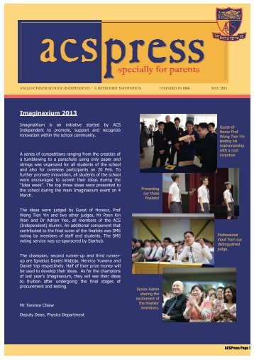 May Issue - Anglo-Chinese School - Ministry of Education