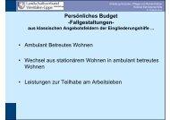 Persönliches Budget -Fallgestaltungen- • Ambulant Betreutes ...