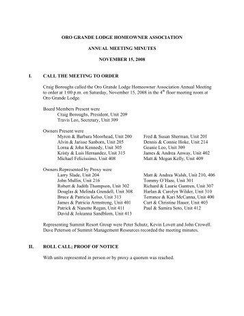 2008 Annual Meeting Minutes OG - Summit Resort Group HOA ...