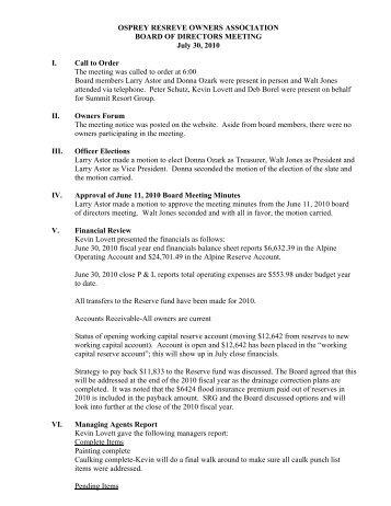 OR 7-30-10 Board meeting Minutes - Summit Resort Group HOA ...