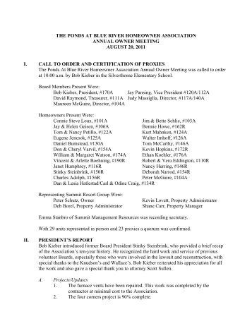 Ponds 2011 Annual Meeting Minutes - Summit Resort Group HOA ...