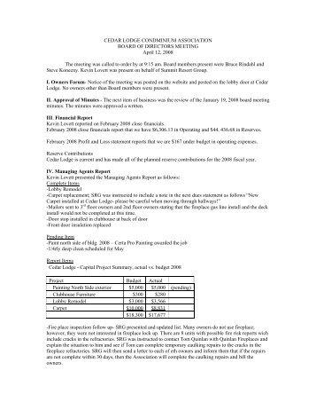 CL Board meeting minutes 4-12 - Summit Resort Group HOA ...