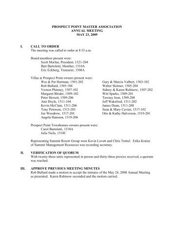 PPM 2009 Annual Meeting Minutes - Summit Resort Group HOA ...