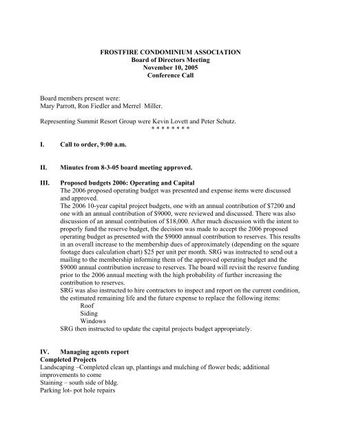 11-10-2005 FF Board Meeting minutes - HOA Management