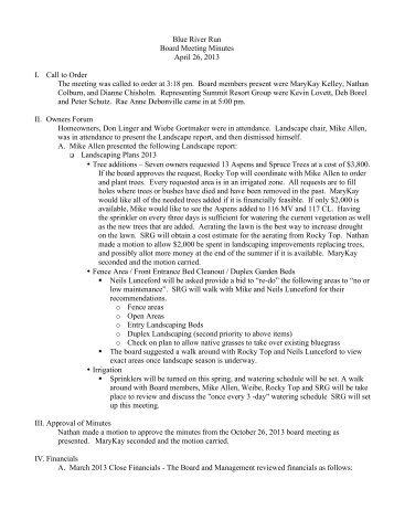 BRR Board Meeting Minutes 4-26-13 - Summit Resort Group HOA ...