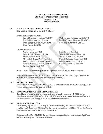 LDC 2011 Annual Meeting Minutes - Summit Resort Group HOA ...