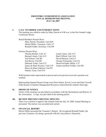 7-28-07 FF Annual Owner Minutes draft - Summit Resort Group HOA ...