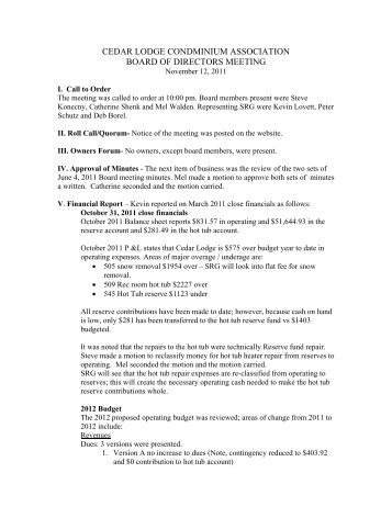 CL Board meeting minutes 11-12-11