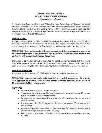 WPR BOD Meeting Minutes 2-5-11 - Summit Resort Group HOA ...