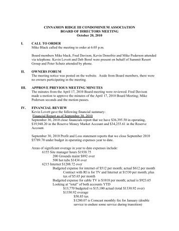 CR 3 Board Meeting Minutes 10-20-10 - Summit Resort Group HOA ...